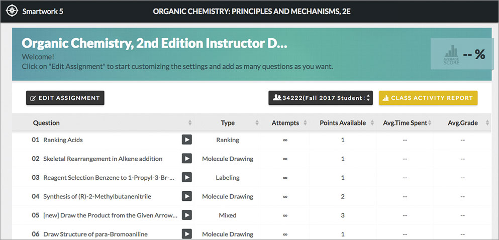 Smartwork5 for Organic Chemistry